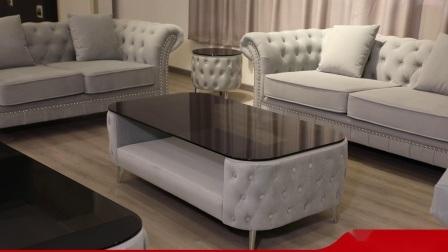 Salon moderne Hôtel Restaurant Chesterfield Italie Home Meubles Meubles canapé en velours de tissu fixé avec table à café