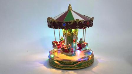LED aceso a decoração de férias de Natal LED Musical Girar carrossel de Natal com Santa Rudolfo