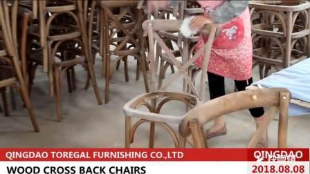 Starke dauerhafte moderne natürliche Holz Kreuz zurück Barhocker Stuhl für Hochzeitshotel Party Events