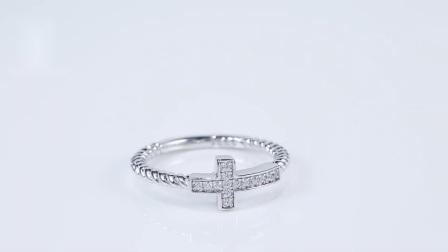 도매 보석 모방한 다이아몬드 반지 예수 십자형 반지 여성
