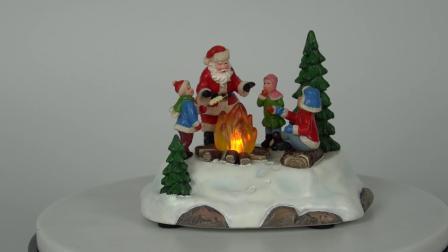 Venda por grosso Noel Resina Mesa Santa Claus Fogueira Xmas cena iluminada Decoração de Natal