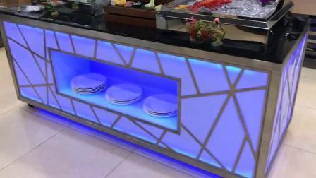 Rechteckiger heller Luxuxstab-Speisetisch der Hochzeits-Lebesmittelanschaffung-Buffet-Tisch-Nahrungsmittelwärmer-Ofen-Hotel-Gaststätte-Edelstahl-moderner Marmoroberseite-LED mit Rädern