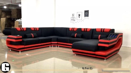 Casa moderna en forma de U Ocio Muebles de salón sofá de cuero