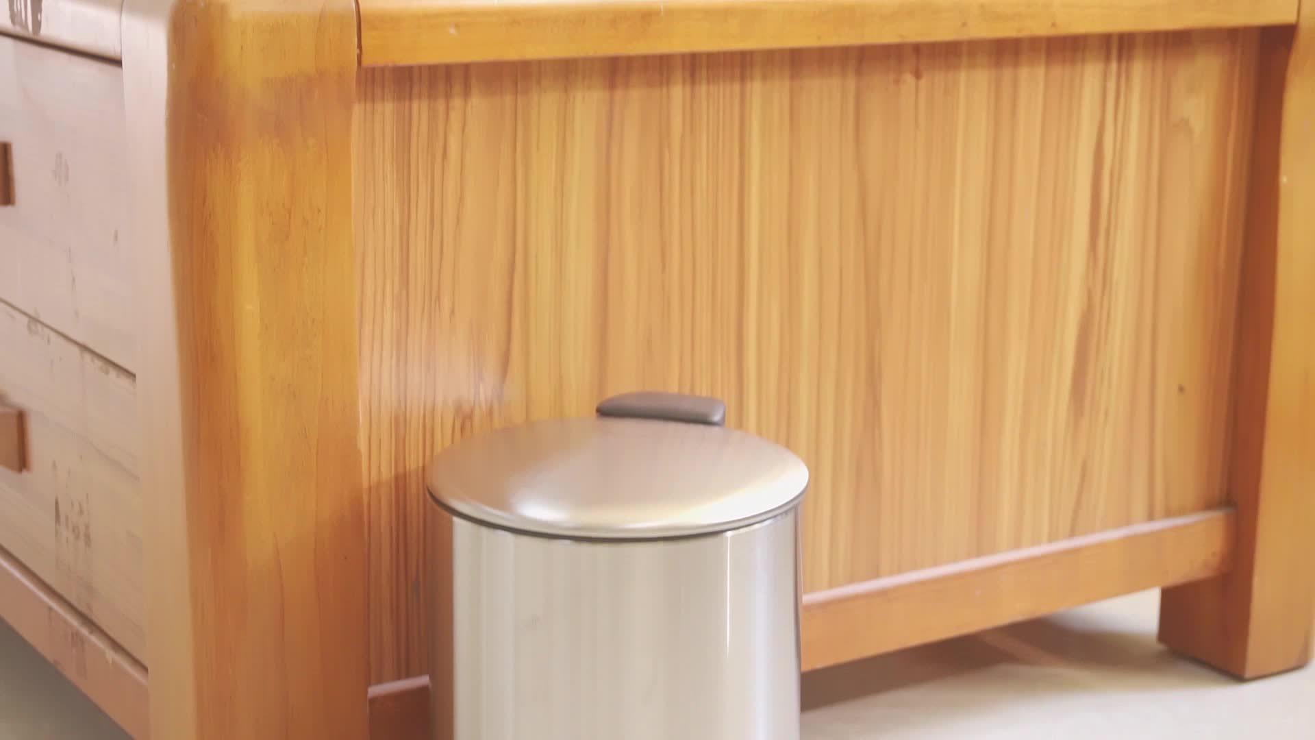 Roestvrijstalen mat afwerking zacht Sluiten bak met pedaal voor sterk vuilnisbak