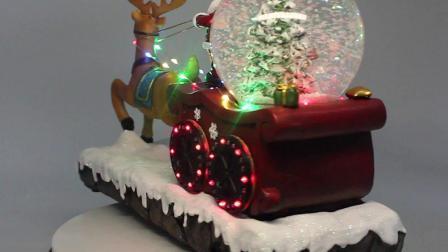 Heet verkoop Decoratie van Kerstmis van de Bal van het Water van het Rendier van de Ar van de Muzikale de Opvlammende LEIDENE Kerstman van Polyresin
