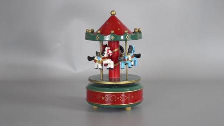 Aangepaste Vrolijk van Carrossel van Kerstmis Decoratieve Plastic en Houten gaat beëindigt de Roterende Muziekdoos van de Carrousel voor de Gift van Kerstmis