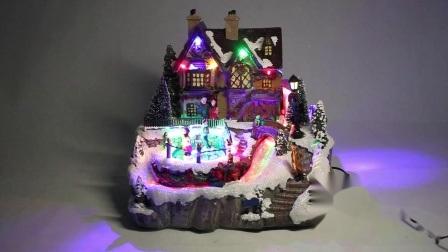 Het Huis van de kleurrijke LEIDENE Muziek van de Verlichting met de Decoratie van het Dorp van Kerstmis van Polyresin van de Scène van Kerstmis