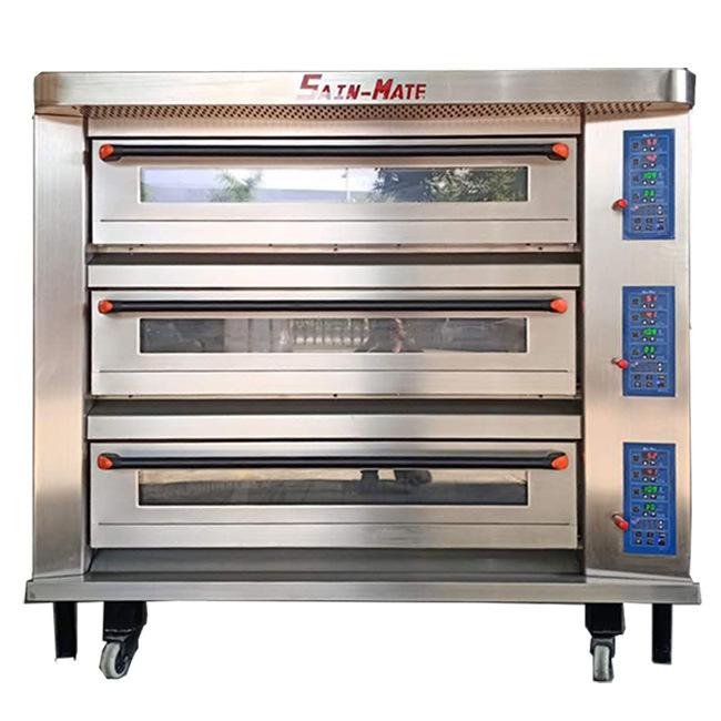 Oven 3 dek 9 trays Commercieel Bakkerij Gas Elektrisch dek Bakken Pizza brood oven