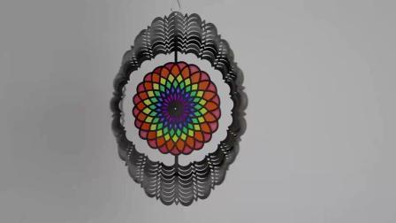 Aço inoxidável OEM Flor de metal com Owl a figura do rotor do vento