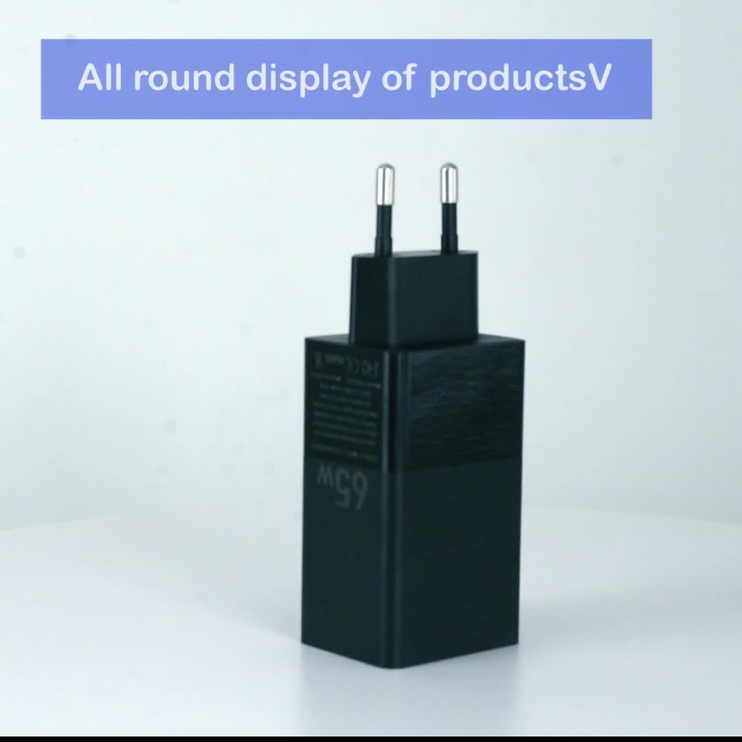 Nova chegada 65W carga rápida e Parede Mini 3 portas USB Carregador de parede Pd carregador de viagem