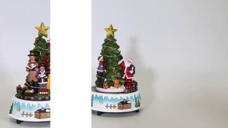 Muziekdoos van Kerstmis van de in het groot LEIDENE van de Hars de Lichte omhoog Muzikale Scène van Kerstmis Roterende Sneeuwman Geanimeerde