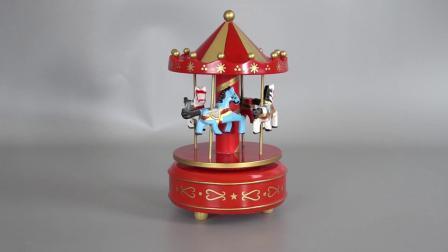 In het groot Kerstmis Carrossel Decoratieve Plastic en Houten Vrolijke Handcranked gaat om de Muziekdoos van de Carrousel voor het Speelgoed van Jonge geitjes