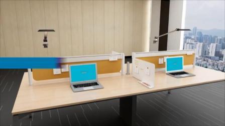 As estações de trabalho de escritório de estilo moderno com fixação de armazenamento superior