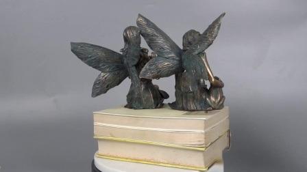 Nieuw OEM komt Decor 2 van de Tuin Beeldje van de Engel van Polyresin van de Kleur van het Brons van de Fee van de Ezel het Vastgestelde met Kikker en Konijn aan