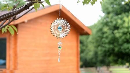 Nova cor de jardim Mandala em aço inoxidável 3D do rotor do vento