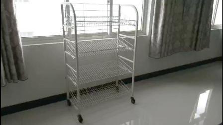 Rack di stoccaggio in metallo con rotelle