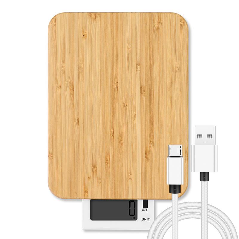 Carregamento USB à prova de Balança de cozinha em bambu eletrônico digital 10kg
