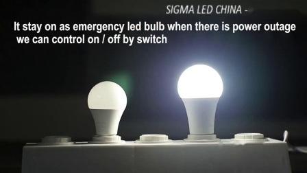 Sigma-heiße Verkäufer AC/DC Gfc 110V 220V Lampen-Birnen-Notleuchte Wechselstrom7w 9W 12W 15W B22 E27 BD backup nachladbare SA-Dimmable LED