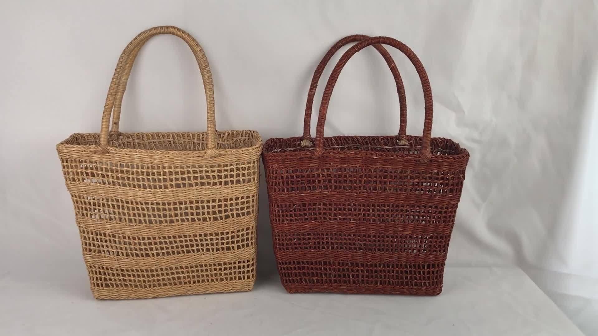 Cesta de palha Bolsas Caros Senhores Tote Bag Fashion cor amarelo palha Bag Sacola de Compras