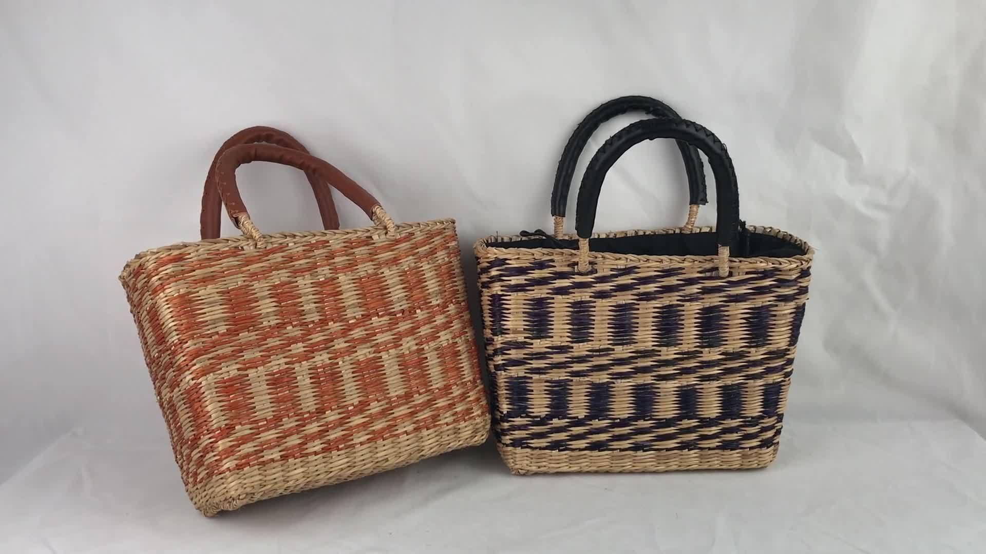 Carrinho de palha Senhoras saco de mão Ladies saco de pano Moda Amarelo palha Saco de compras