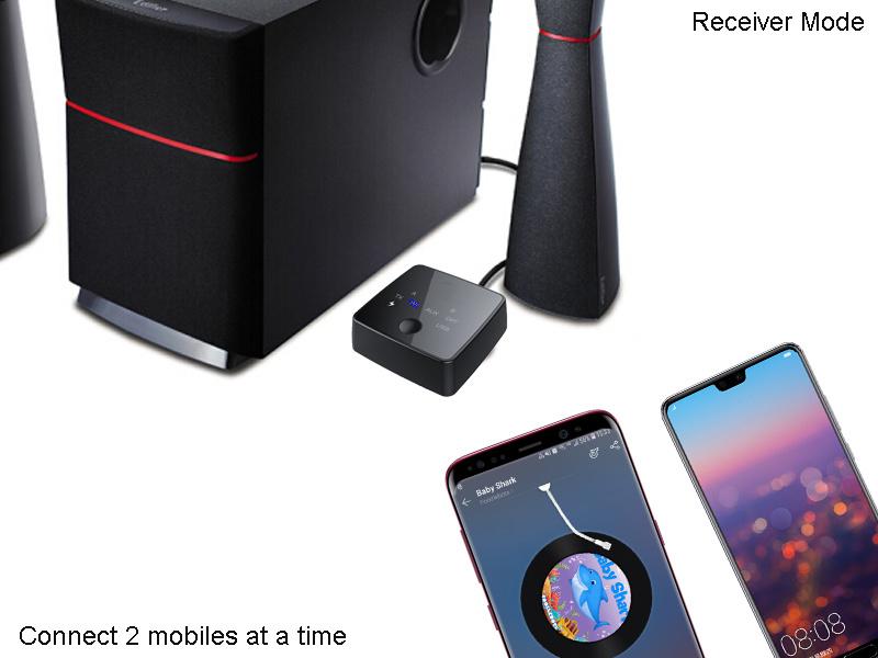 TV/홈 스테레오용 미니 장거리 Bluetooth 송신기 및 수신기 시스템