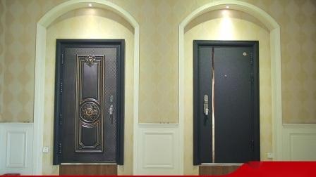 黒いカラー力のコーティングの表面の鋼鉄機密保護の正面玄関のドア