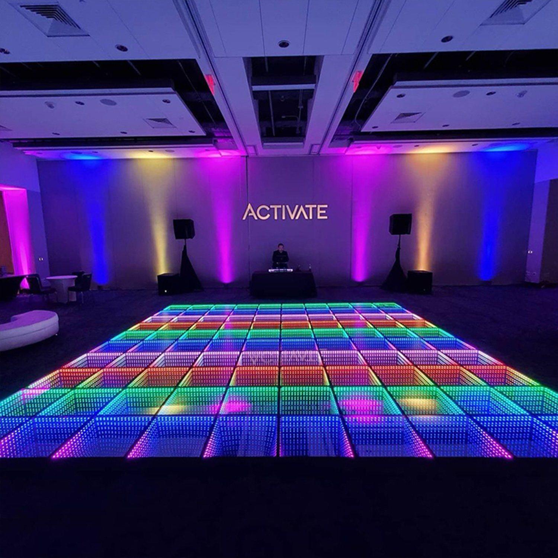 Plancher de danse de mariage de professionnels de la Chine ont conduit l'infini miroir plancher de danse de LED 3D