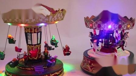 De Decoratie van Kerstmis van de Carrousel van Polyresin de Kerstman van het festival met Muziekdoos