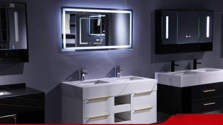 Ijdelheid van de Badkamers van het Meubilair van de Badkamers van de Gootstenen van de Gootstenen van het Bassin van het hotel de Marmeren Dubbele, LEIDENE Spiegel, het Kabinet van de Spiegel