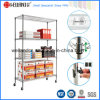 Mobile 4 Tiers Heavy Duty Adjustable Metal Commercial Wire Shelving