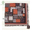 Wholesale Twill Cotton Square Floral Puzzles Printed Shawl Tassel Fashion Scarf