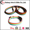 Thermal Transfer Rainbow Durable Fabric Plain Nylon Adjustable Dog Collar and Leash