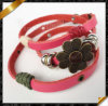 Pink Leather Bracelet, Fashion Handmade Real Leather Wristbands & Leather Bracelet (FB0106)