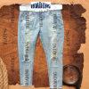 Fashion Design Ladies′ Denim Jeans with Worn Splash-Ink (HDLJ0010)
