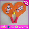 2015 Happiness Play Cheap Wooden Beach Racket with Tennis Ball, Summer Custom Wooden Beach Racket with Mesh Bag and Ball W01A114