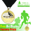 Factory Price Custom Plated Metal Blank Engraved Medal with Ribbon