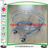 Round Metal Wire Chromed Hand Shopping Basket with Go Cart