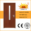 Internal Simple Bedroom PVC Door with Glass Designs (SC-P147)