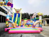 Giant Bob Inflatable combo obstacle inflatable jumping castle fun city with slides for kids