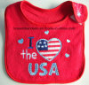 China Factory Produce Customized Logo Embroidered Red Cotton Terry Baby Bib