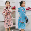 Children′s Pajamas Flannel Hooded Bathrobe with Belt