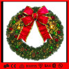 Christmas Green Hanging Wreath Bow Decoration LED Holiday Indoor Light