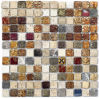 Rustic Marble Mosaic with Glass (N 1411)