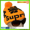 Orange Jacquard Beanie with POM Bn-0503