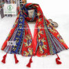 Retro Folk Style Elephant Print Hanging Tassels Cotton Scarf Shawl
