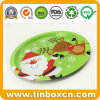 Round Metal Tin Plate Serving Trays for Christmas