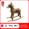 Indoor Playground Wooden Toy Spring Plush Rocking Horse with Sound