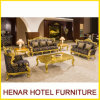 Royal Gold Wood Living Room Furniture Sofa Set for Hotel Lobby