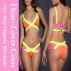 Yellow Bandage Color Block Bikini Swimsuit