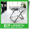 Grey Tempered Glacss Coffee Table with Stainless Steel Base